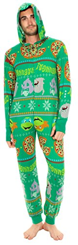 (Teenage Mutant Ninja Turtles Pizza Adult Green One Piece Pajama Onesie Jumpsuit (Adult)