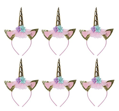 6 pack unicorn headbands for girls kids adults party supplies favors birthday decorations-unicorn horn-(golden)