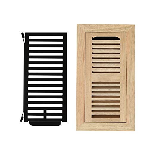 (4X10 Red Oak Wood Flush Mount Vents With Damper,Wood Floor Register Vent Cover Unfinished by WELLAND, 3/4