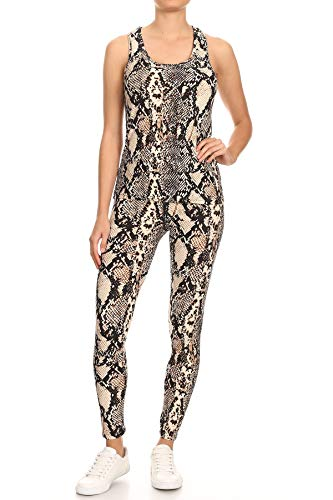 Jvini Women's 2 Piece Camouflage Active Stretchy Racerback Tank & Legging Set (Small/Medium, snakeskin-10)