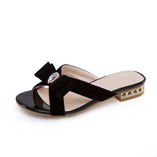 Black Plat Open Plage Chaussures remorque Sandales Sauvage Mot Femmes de Toe Xx71vq