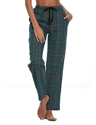 Green Pants Plaid Ladies Pajama (Luvrobes Women's Cotton Plaid Pajama Lounge Pants(L, Green))