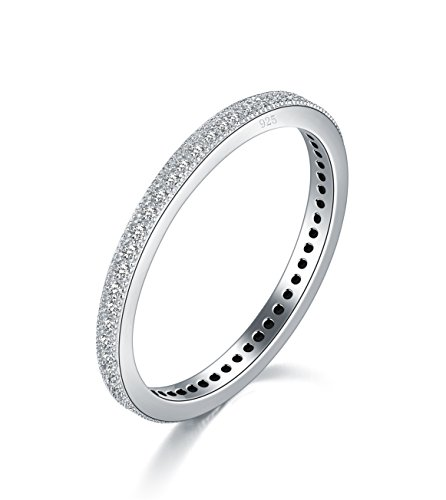 (BORUO 2MM 925 Sterling Silver Ring, Cubic Zirconia CZ Wedding Band Stackable Ring Size 9.5)