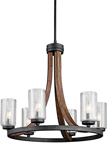 Kichler 43193AUB Grand Bank Chandelier 6-Light, Auburn Stained (Rustic Stained Glass Chandelier)