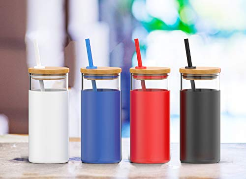 20oz glass tumbler with silicone straw