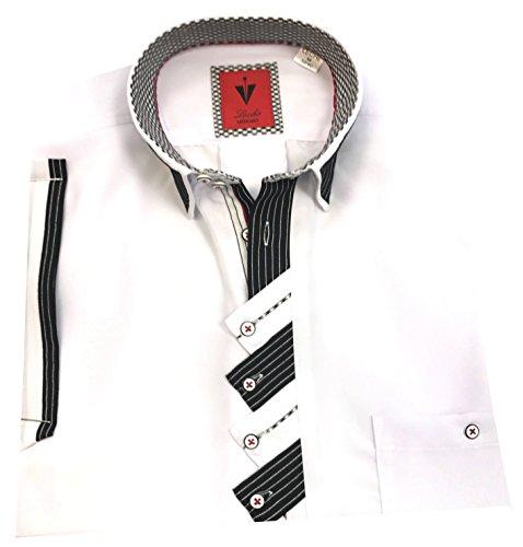 Leché Designerhemd in Weiß mit Zick-Zack-Leiste