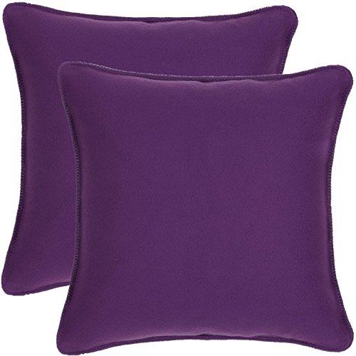 18 x 18 Inches Super Soft Fleece Decorative Throw Pillow, Set of 2 - Plum (Throw Pillow Groupings)