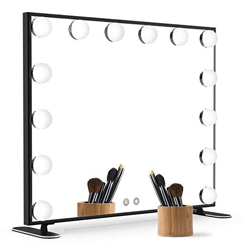 Nitin Lighted Vanity Mirror with Touch Control Design, Hollywood Style Makeup Mirrors with Lights, Tabletop or Wall Mounted Vanity Mirrors (Black) (Black Vanity Mirror)