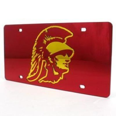 Stockdale Usc Trojans Inlaid Acrylic License Plate Red