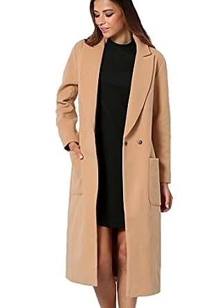 SheIn Women's Lapel Collar Long Coat (M, Camel)