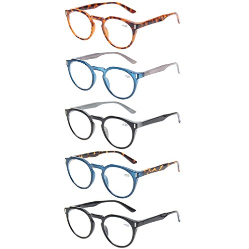 Reading Glasses 5 Pack Retro Round Readers Quality Spring Hinge Glasses for Reading (5 Pack Mix Color, ()