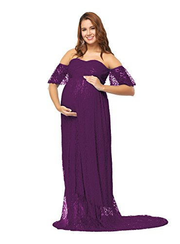 858b2b23fe3aa JustVH Women's Off Shoulder Ruffle Sleeve Lace Maternity Gown Maxi  Photography Dress