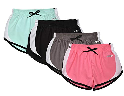Hind Kids Girls 4-Pack Athletic and Running Activewear Shorts ()