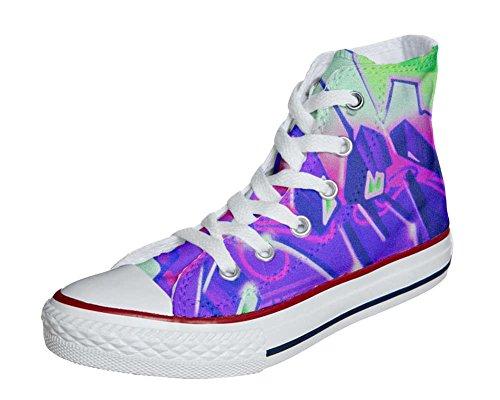 Converse Customized Chaussures Personnalisé et imprimés UNISEX (produit artisanal) avec Graffiti sfumati viola - size EU40