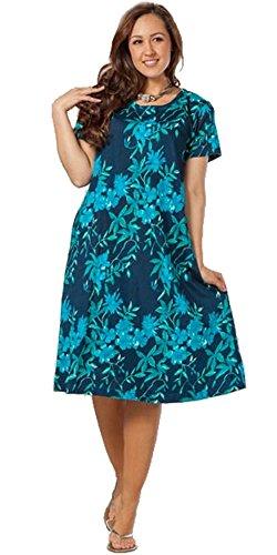 8510a309d15f4 La Cera Short Sleeve Cotton Knit A-line Dress in Luna Garden ...