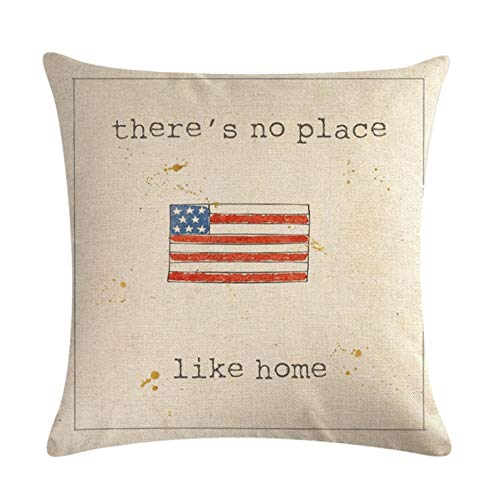 Homedy 4 Pack Throw Pillow Covers,Patriotic American Flag July 4th Inspired,USA Flag Cotton Linen Pillow Cases Couch Cushion Cover 18 X 18 Inch