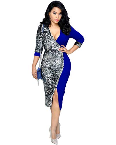 Kearia Women Sexy Glitter Sequin V Neck 3/4 Sleeve Bodycon Split Front Pencil Midi Party Dress Blue Medium ()