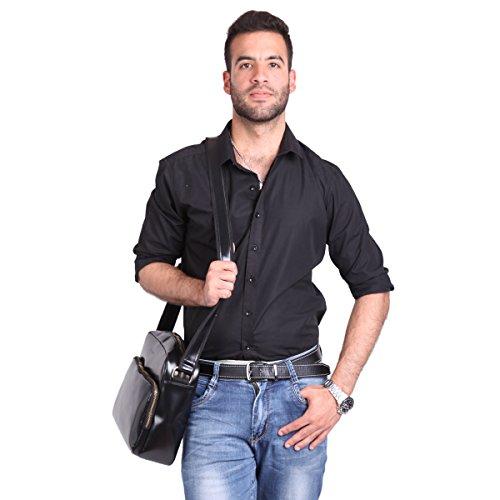 Leathario Borsa di Vera Pelle da Uomo a Tracolla Messenger Scuola Ufficio Lavoro Business