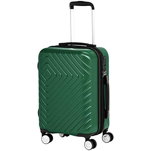 AmazonBasics Geometric Luggage Expandable Suitcase Spinner 20-Inch Cabin Size, Green