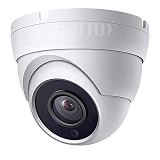Real HD 1080P Dome HD Analog Outdoor Security Camera (Quadbrid 4-in1 HD-CVI/TVI/AHD/Analog), 2MP 1920x1080 2.8mm 65ft Night Vision, Metal Housing, 100° Wide Viewing Angle