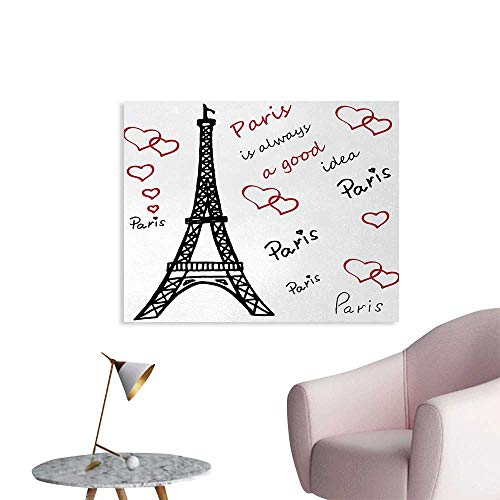 Tudouhoho Eiffel Tower Art Poster Eiffel Paris is Always a Good Idea Tourism Locations Love Valentines Photographic Wallpaper Red Black White W28 xL20]()