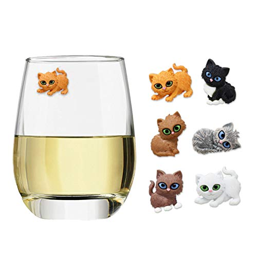 - Claim Your Glass KITTENS Cocktail/Wine Charm Drink Markers, Set of 6, Magnetic Markers for Stemmed or Stemless Glasses