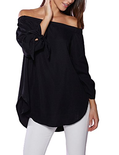 Just Quella Women's Off Shoulder Loose Shirt Blouse 8422 (Medium, Black)