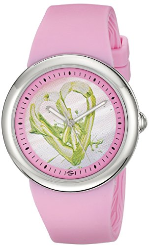 Philip Stein Women's F36S-PLPC-P Quartz Stainless Steel Pink Dial with Green Peace Sign Heart Watch