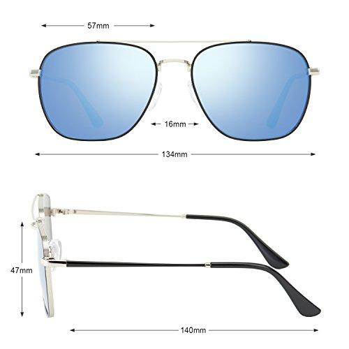 Marco UV400 sol PL de Lente Estilo de Hombre Espejo Inoxidable Azul 1001 Gafas Super Cómodas Polarizadas aviador Avoalre de Moda Cuadrada TAC Gafas ZqfCWw