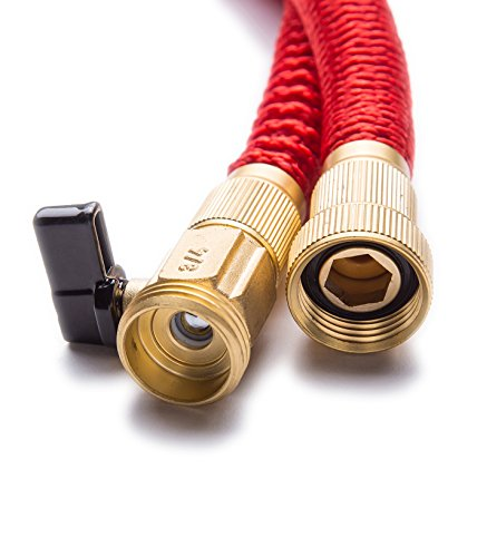 WHOBUY Newest 25' Expanding Hose, Strongest Expandable Garden Hose on the Planet. Double Latex Core, Extra Strength Fabric,Red