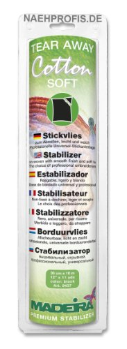 Madeira Embroidery Stabilizers - Madeira 20990201 Cotton Soft Tear Away Stabilizer, Black
