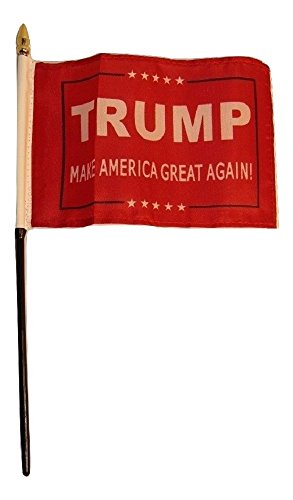 ALBATROS President Trump America Great Red 4 inch x 6 inch Flag Desk Set Table Stick with Black Base for Home and Parades, Official Party, All Weather Indoors - Nebraska Boxer
