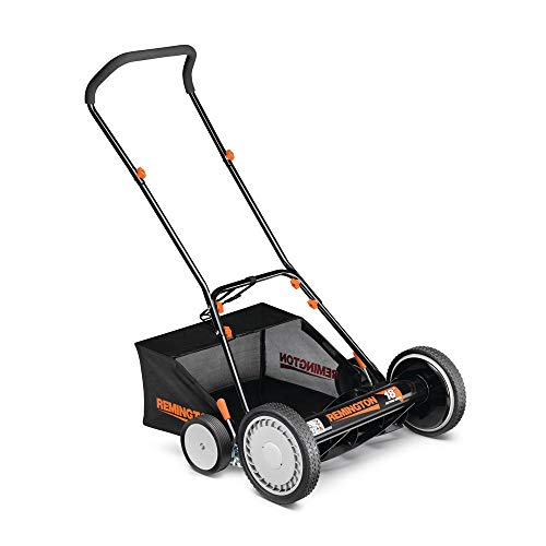 Remington 18 in. Manual Walk Behind Reel Lawn Mower with Attachable Bagger and 9 Position Cutting Heights with Bonus Husky Steel Precision File Set with Storage Case (6-Piece)