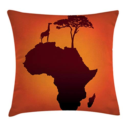 Ambesonne African Decor Throw Pillow Cushion Cover, Safari Map with Continent Giraffe and Tree Silhouette Savannah Wild Design, Decorative Square Accent Pillow Case, 18 X 18 Inches, Orange Brown