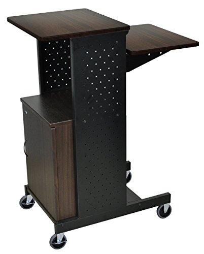 LUXOR PS4000C-W 4 Shelf Mobile Presentation Station with Cabinet, Walnut ()
