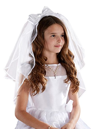 (Sacred Traditions Girls First Communion Veil with Satin Bow, White, 26 Inch)