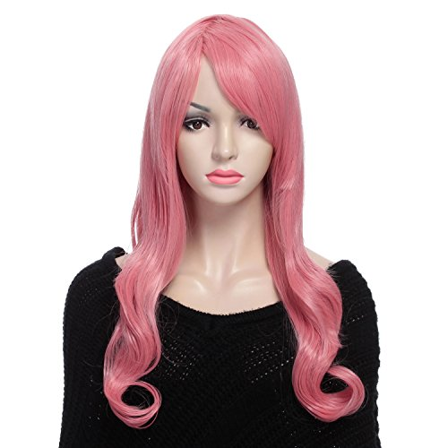 YOPO Wig Long 28'' Wavy Curly Pink Wigs for Women Synthetic Cosplay Full Wig, Heat Resistant Wig with Free Wig Cap & Bobby (Mermaid Wig In Blonde)