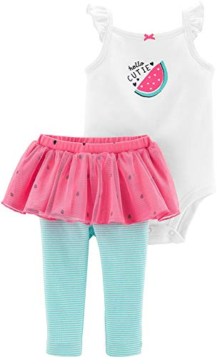 Carter's Baby Girls' 2-Piece Tutu Pant Set (Ivory/Pink/Watermelon, 12 Months)
