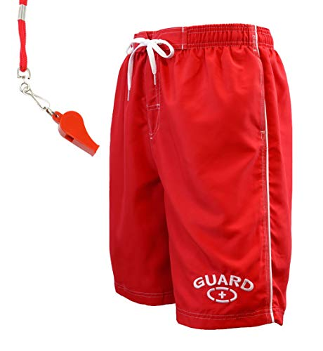 Adoretex Men's Guard Swimsuit Board Shorts Swim Trunks with Free Whistle and Lanyard - MG001 - Mens - M - Lifeguard Trunks Swim