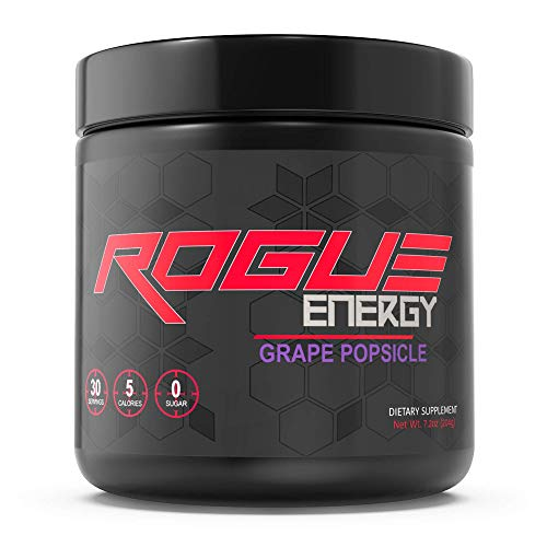 Rogue Energy – Gaming Drink for Hours of Energy & Focus, Esports & Gamer Supplement, Sugar & Gluten Free (Grape Popsicle Tub 30 Servings)