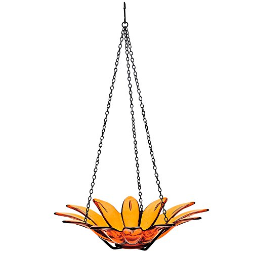 9-200-08 Recycled Glass & Metal Hanging Daisy Bird Bath or Feeder, 12