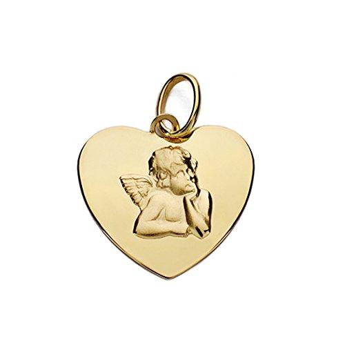 Médaille pendentif 14mm or 18k ange coeur. [AA0068GR] - personnalisable - ENREGISTREMENT inclus dans le prix