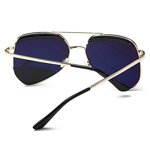 Objectif Femmes Unisexe Hommes Retro Gold Miroir Aviator Rouge Vintage Lunettes Sunglasses Métal QHGstore Frame S4PxBWnAqP