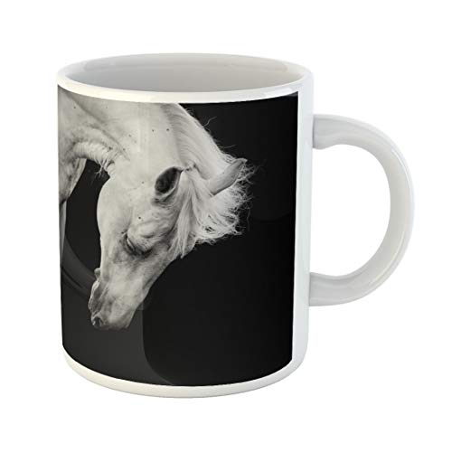 Semtomn Funny Coffee Mug Head White Horse on Black Detail Equestrian Hair Melancholy 11 Oz Ceramic Coffee Mugs Tea Cup Best Gift Or -