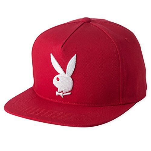 playboy-mens-solid-3d-rabbit-snapback-red