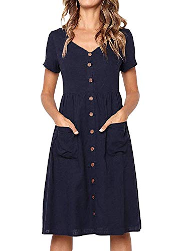 LOMON Summer Dresses Petite for Women a-line Modest Dress with Pockets Navy Blue - Sweater Dress Smocked