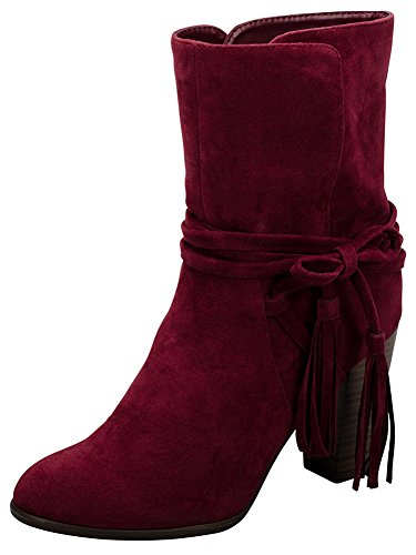 Wrap Breckelles Stacked Around Ankle Chunky Tassel Women's Western Bootie Wine Heel 5xHqFw7H