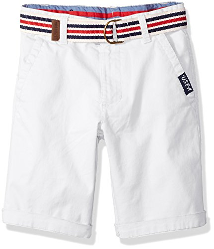 U.S. Polo Assn. Boys' Big Short, Large Roll up Cuff White, 10 by U.S. Polo Assn.