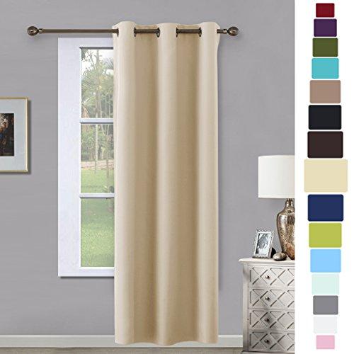 beige room darkening curtain and drape nicetown energy efficient warmth solid grommet room darkening curtain for bedroom sold