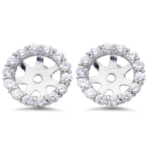 3/4ct Diamond Halo Earring Studs Jackets 14K White Gold Fits 1ct (6-6.7mm) by Pompeii3
